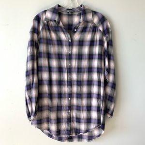 Vince | Purple & Gray Plaid Flannel Tunic Top
